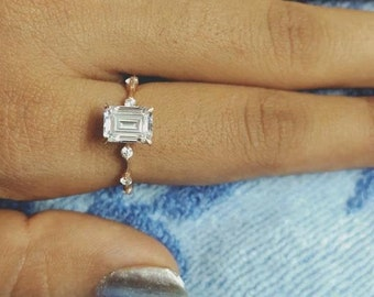 Emerald Cut Solitaire With Accent RingHalo Unique Engagement RingWedding Bridal RingGift For Her2.50CT Diamond925 Silver14K White Gold