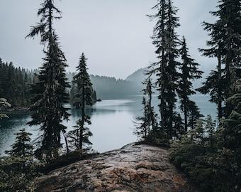 Landscape Fine Art Photography, Moody Mowich Lake, Nature, Pacific Northwest, Washington