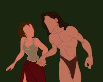 tarzan and jane READY to ship, jungle theme Halloween cavegirl Caveman Jungle costume cavegirl