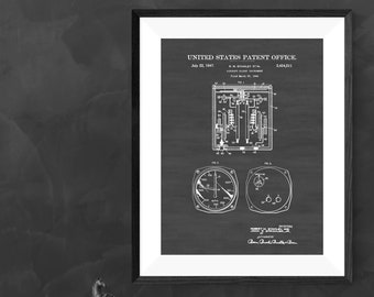Aircraft Airspeed Indicator Patent 1947 - Airplane Instrument, Airplane Art, Pilot Gift, Vintage Instrument, Aircraft Decor, Airplane Poster