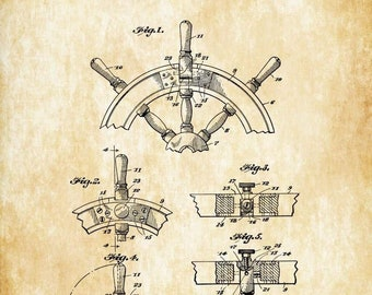 Ship Steering Wheel Patent 1944 - Vintage Nautical, Naval Art, Ship Wheel, Sailing Decor, Nautical Decor, Beach House Decor, Boating Decor