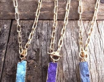 Dark Blue Druzy Bar Necklace 18inch J273