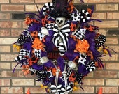 Scary Skeleton Halloween Garland Wreath Indoor Outdoor Wreath Decor Party Supplies Home Office Decorations Wreaths For Front Door Gift
