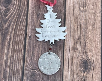 Our First Christmas Engaged Ornament / Our First Christmas Married Ornament / Personalized Ornament / Christmas Ornament / Engagement
