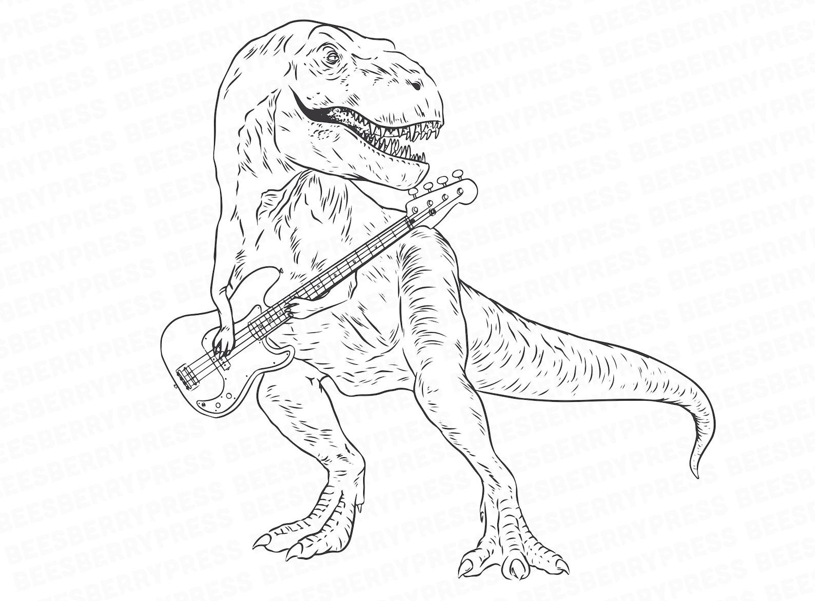 dinosaurier clipart t-rex spielen die gitarre schwarz und