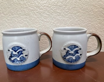 Vintage Otagiri speckled pottery mugs with glazed seagulls. Very nautical looking.