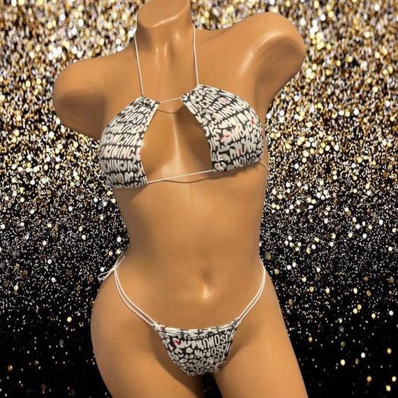 Exotic Dancewear Adjustable Two Piece with Rhinestones