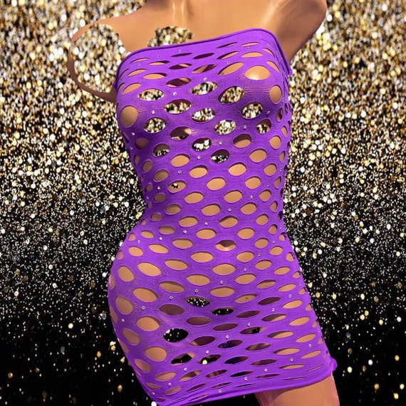 Exotic Dancewear Fishnet Dress with Rhinestones