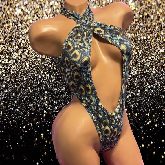 Exotic Dancewear Bodysuit with Rhinestones