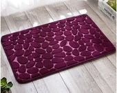 Flannel felted Pebble Rug ,with Natural color Handmade felt Stone,good for Living room & Bathroom Decor, starts with 40x60cm size,Fair Trade