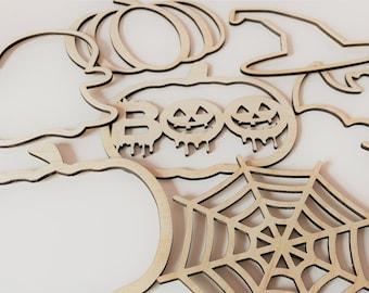 Halloween Macrame Outlines / Halloween Crafts / Halloween Decor / Craft Blanks /Pumpkin, Ghost, Spiderweb, Decor