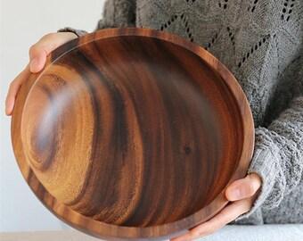 Solid Wood Bowl Kitchen Wooden Dessert Salad Soup Food Rice Bowls Loong