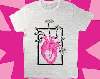 GUNK T-shirt | Blooming Heart Print | Striped Screen-printed Tee