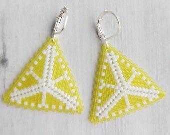 Citrus Slice Peyote Triangle Earrings - Lemon