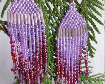 """Ombre """"V"""" Beaded Fringe Earrings - Lilac & Wine"""