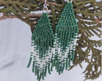 """Ombre """"V"""" Beaded Fringe Earrings - Frosted Emerald & Cream"""