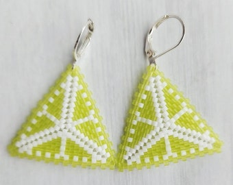 Citrus Slice Peyote Triangle Earrings - Lime