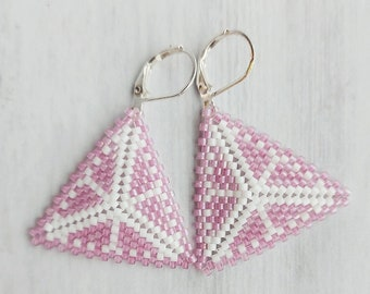 Citrus Slice Peyote Triangle Earrings - Pink Grapefruit