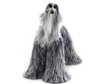 Dark Grey White Collectibles Afghan Hound Stuffed Mini Dog Cute Plush Animal Barbie Dolls Pet