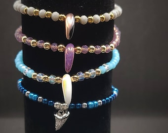Shark Tooth, Fang & Claw- Beaded Bracelets (Multiple Colors)