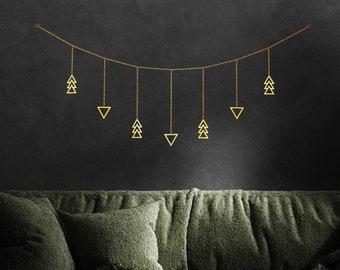 Boho Wall Hanging Decor   Gold Geometric Garland Banner   Modern Southwestern Eclectic Decor Art for Dorm Bedroom Room