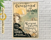 Art Nouveau 39 Exposition des œuvres de A. Sirtaine, X. Würth, R. Heintz 39 , France, 1897, Vintage Art Nouveau Digital Print Download