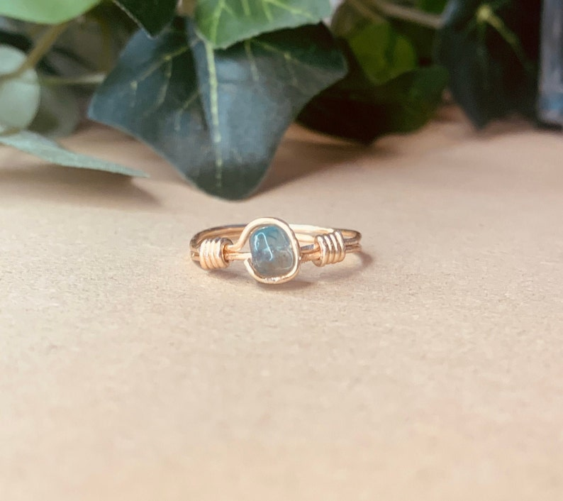 Gold Wrap Apatite Rock Ring