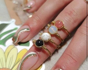 Bague fil de fer anneau  perles gemme pierre naturelle semi-précieuse argent or cuivre toutes tailles