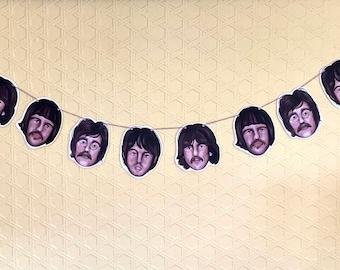 The Beatles Birthday Bunting / Party Banner -  Birthday Banner Decoration Sign Birthday Garland John Lennon Paul McCartney George Ringo