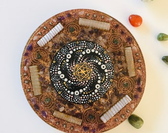 X Large Magnetic Orgone Charging Plate with Selenite, Amethyst, Rose Quartz, Preseli Bluestone, and Hand Painted Crop Circle Mandala
