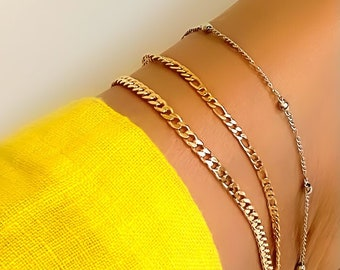 Anklet Cuban chain or Figaro chain in 18k Gold Filled   Filoauro  Bridal or Wedding Jewelry