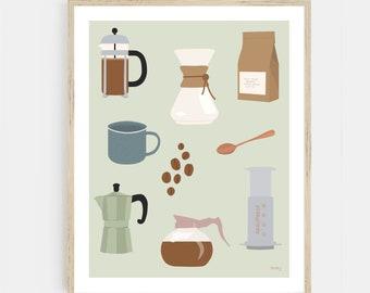 Coffee Print   Kitchen Wall Art   Coffee Bar Print