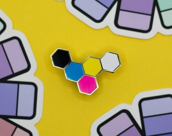 CMYK Hex Hard Enamel Pin / Colorful Lapel Pin / Designer Jewelry / Gold Metal + Cyan + Magenta + Yellow + Black / Graphic Design Gift / Art