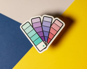 Pantone Fan Book Sticker / Graphic Designer Gift / Colorful / Sticker for Laptop + Phone + Journal + Water Bottle