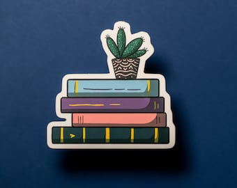 Stack of Books Sticker / Book Lover Gift / Book Worm Gift / Pastel / Moody / Dark / Sticker for Laptop + Phone + Journal + Water Bottle