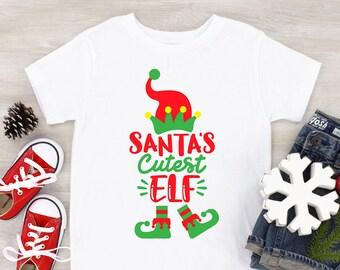 Santa's cutest elf shirt, Kids shirts for Christmas, Stocking Stuffers, Christmas Shirt for Daughter, Holiday Gift for Son