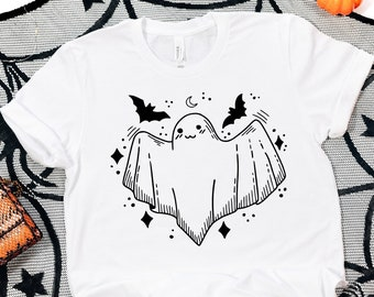 Cute Ghost Shirt For Women, Halloween Shirts for Him, Spooky Season Shirt, October Birthday Gifts For Her, Trendy Shirts For Teens