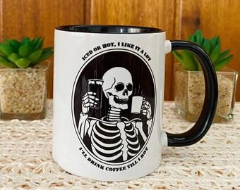 Funny Skeleton Coffee Mug, Handmade Ceramic Mug, October Gift For Him, Halloween Gift, Mug For Her, Halloween Lovers, For Coffee Addicts