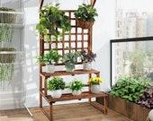 Large Rustic Wooden Plant Stand, 2 Tier Flower Big Display Shelf, Ladder Rack Wood Garden Decoration For indoor and outdoor.