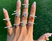 Rose Gold Crystal Rings, Gemstone Rings, Wire Wrapped Crystal Rings