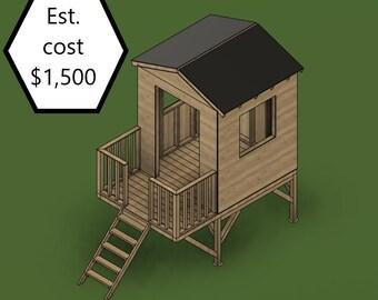 DIY Build Plans - Outdoor Elevated Playhouse - Backyard Hangout