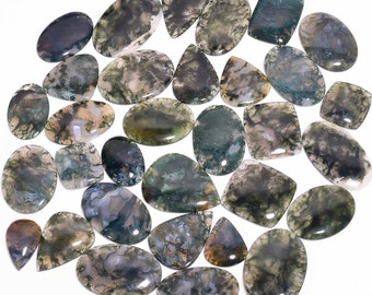 33Cts 37X27X4mm Mexican Moss Agate Shield Cabochon Semi Precious Loose Gemstone Jewelry Making Mexican Moss Agate Stone