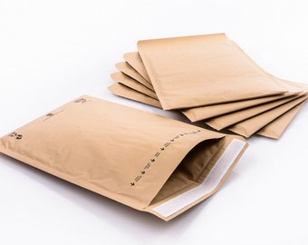 50 pcs, 145x215mm, Honeycomb Paper Padded Envelopes, 100% Recycled Biodegradable Kraft Paper, Fibers Cushioning Protected envelopes