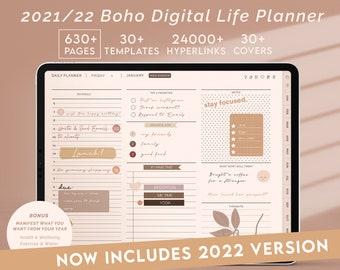 Digital Planner GoodNotes 2021, 2022, Minimal Boho Daily Planner, Notability Planner, Digital Planner iPad / Android