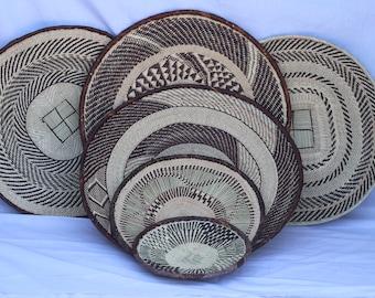6 Brown Binga baskets, 6 Tonga baskets,