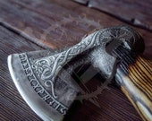 Custom Gift Forged Carbon Steel Viking Axe with Rose Wood Shaft, Viking Bearded Camping Axe, Best Birthday&Anniversary Gift For Him,