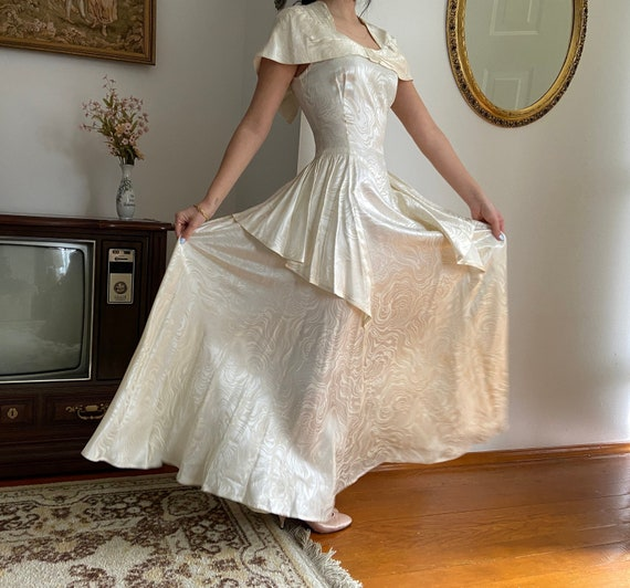 1940s Wedding Dress Size Small Lush 40s Lace and Silk Chiffon Wedding Dress 1940s Wedding Gown