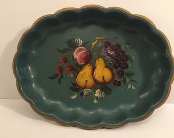 Victorian filigree round tray tray by Nashco NY metal Decorative display decor hand painted