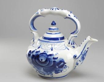 Kettle porcelain Gzhel painting.