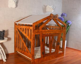 Modern Dog House, Indoor Dog House, Wood Dog House, Dog Crate Furniture, Dog Kennels, Dog Cage, Modern Dog Crate, Dog Crate, Dog House